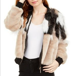 Say What? Junior's Mixed Faux Fur Bomber Jacket